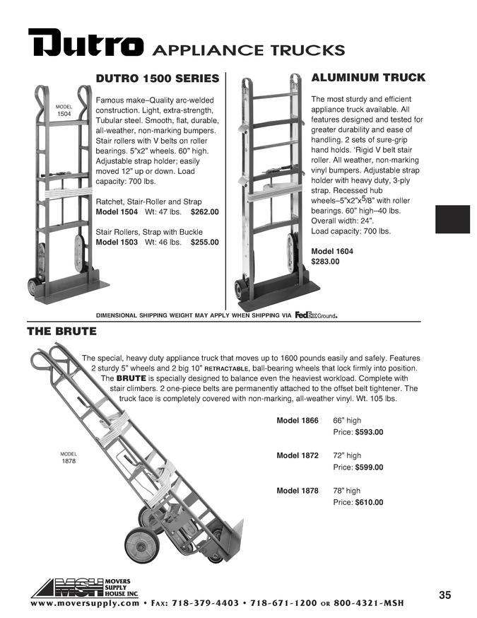 appliance handtrucks - dutro - dutro brute  model 1866  dutro 1500 seri