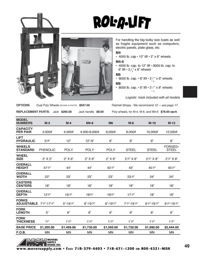 Safe Jacks, Lifts, Heavy Duty Lift, M-4, M4-6, rolalift, M-8, M10, M-12, M8, M4, M12
