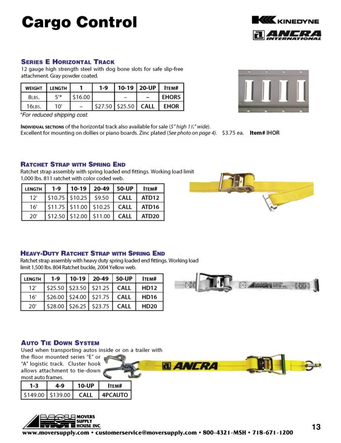 E Track, A Track, Logistic Track Heavy Duty Tracks - KINEDYNE, ANCRA, series E track, Ratchet strap with spring end, Auto tie down system, car straps, HD Ratchet strap with spring ends, 641201, 641601, 642001, vertical track, horizontal track, series E track,