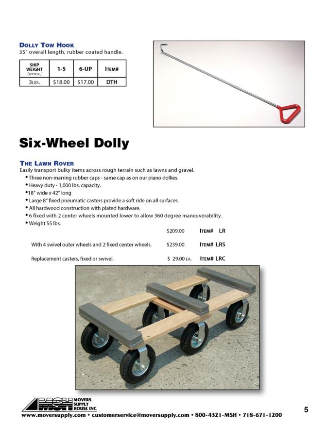 Tow Hooks, Dollies, dolly tow hook, lawn rover, six wheel dolly, 6 wheel dolly, six wheeled dolly, 6 wheeled dolly, lawn rover