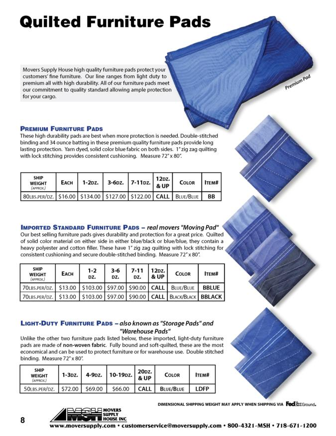 ... Protective Coverings, Quilted Pads, Furniture Pads, Transit Pads, Solid  Color Pads,