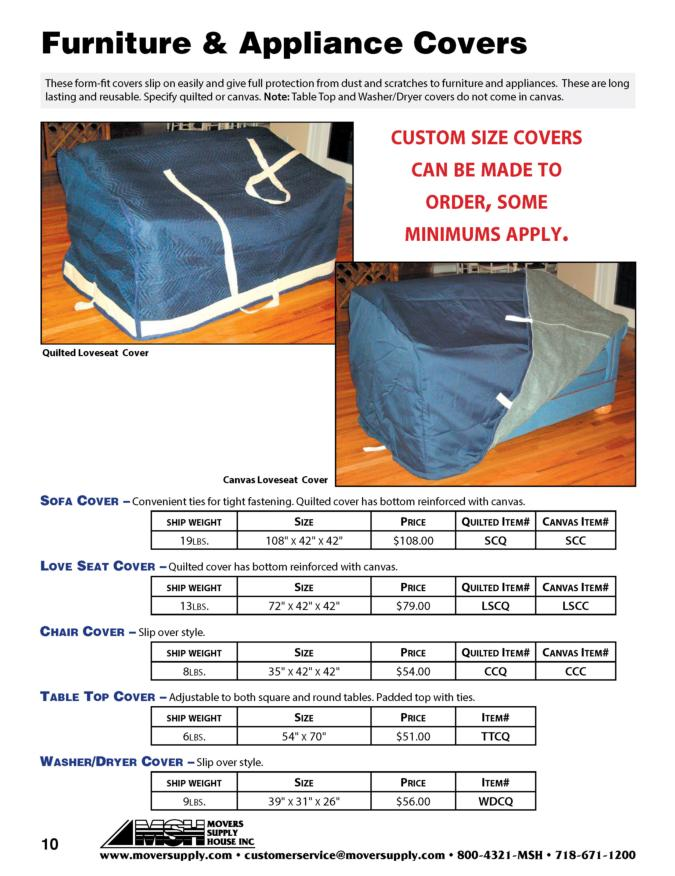 Furniture Covers, Sofa Covers, Table Top Cover, Washer/Dryer Cover, Chair Cover, Love Seat Cover, appliance cover, quilted covers, canvas covers, quilted pads, quilted furniture covers, canvas covers, canvas furniture covers, quilted furniture pads