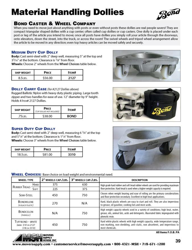 Bond three wheeled dollies, tripod dollies, bond dollies, 2127, cup dolly, 3110020, 3310, material handling dolly, 3-wheel dolly, three wheel cup dolly