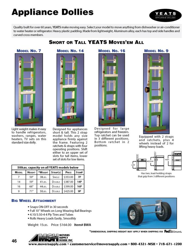 Hand Trucks, Short or Tall Yeats, YEATS, Model 7, Model 16, Model 14, Plastic Pads, Big Wheel Attachment, Model 9, handtrucks, appliance truck, appliance dolly, appliance handruck, appliance hand truck