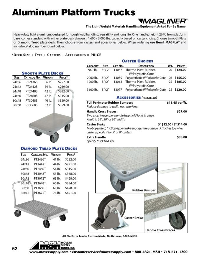 Castered Dollies, Platform Trucks, Deck Accessories, aluminum frame dollies, high capacity dollies, Magline, heavy-duty dolly, heavy duty dollies, magliner, aluminum platform truck, handles, replacement caster
