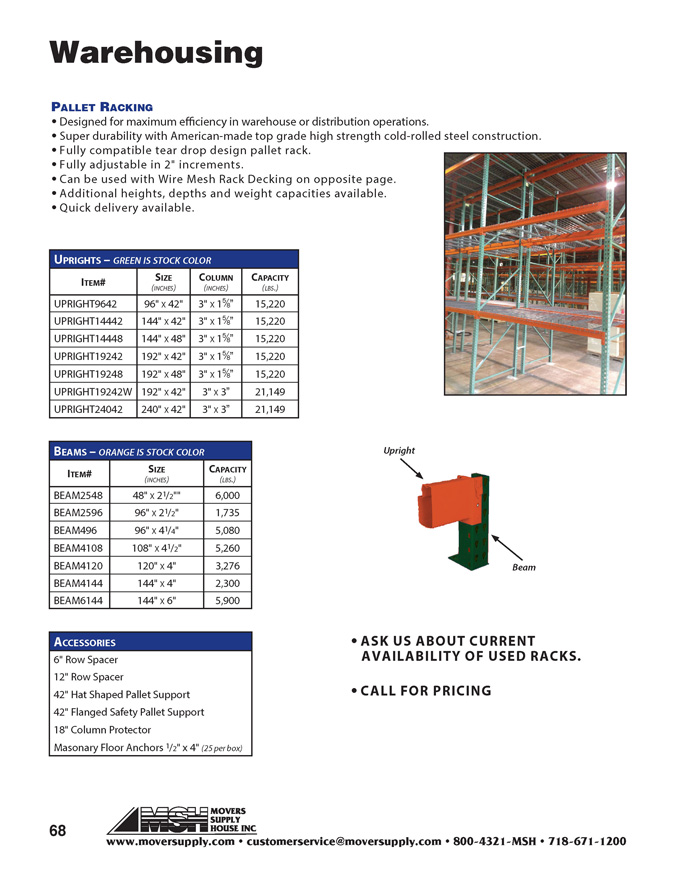 Shelving, Storage Racks, Warehousing, Rack Storage - Cardinal Company, pallet racking, beams, uprights,