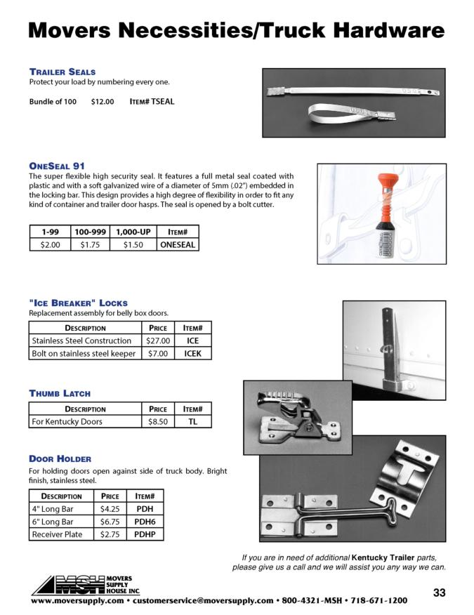 thumb latch, door holder, ice breaker locks, one seal, oneseal 91, high security truck seal