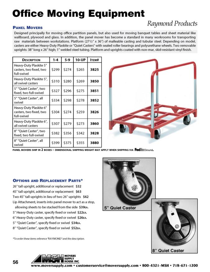 "Panel Mover, ""U"" Frame Trucks - Raymond Products, model 3825, model 3850, model 3851, model 3852, model 3826, model 3860, model 3828, model 3880, panel cart, panel carts, panel mover replacement casters, tall  uprights"
