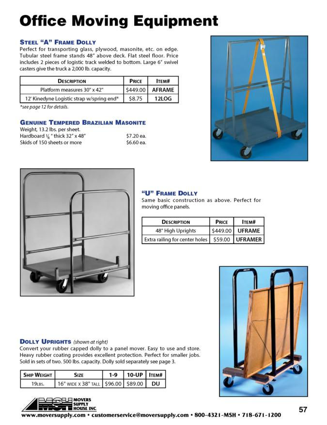 "Office Moving, Dolly Rentals, ""A"" Frame Dolly, ""U"" Frame Dolly, dolly uprights, panel movers, masonite carriers, mattress carrier, raymond dolly upright, steel A frame dolly, office moving equipment,"