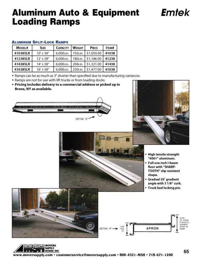 Loading Ramps, Van Ramps, Walk boards - Emtek, auto loading split ramp, aluminum split ramps, spli-lock ramp, 41438slr, emtek slit-lock ramp, car ramp, equipment loading ramp